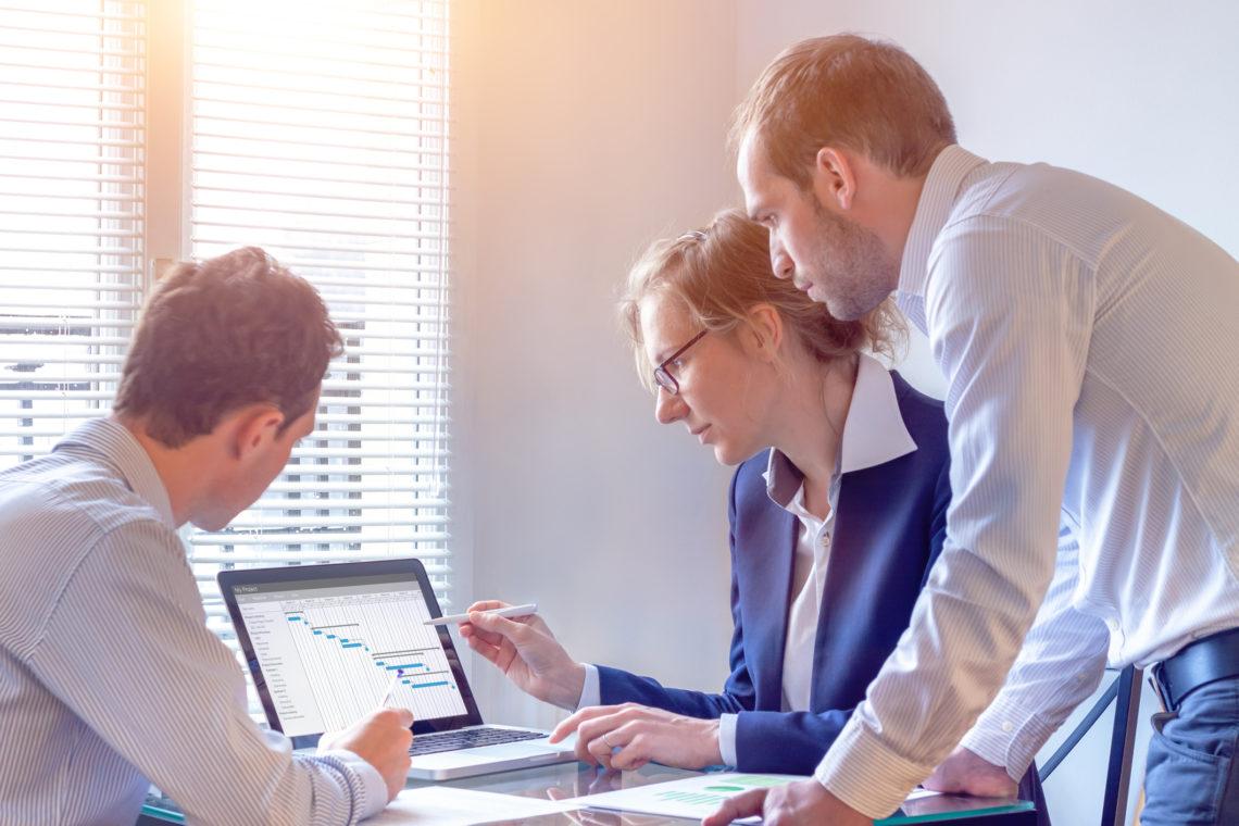 Pessoas organizando sua empresa pelo computador